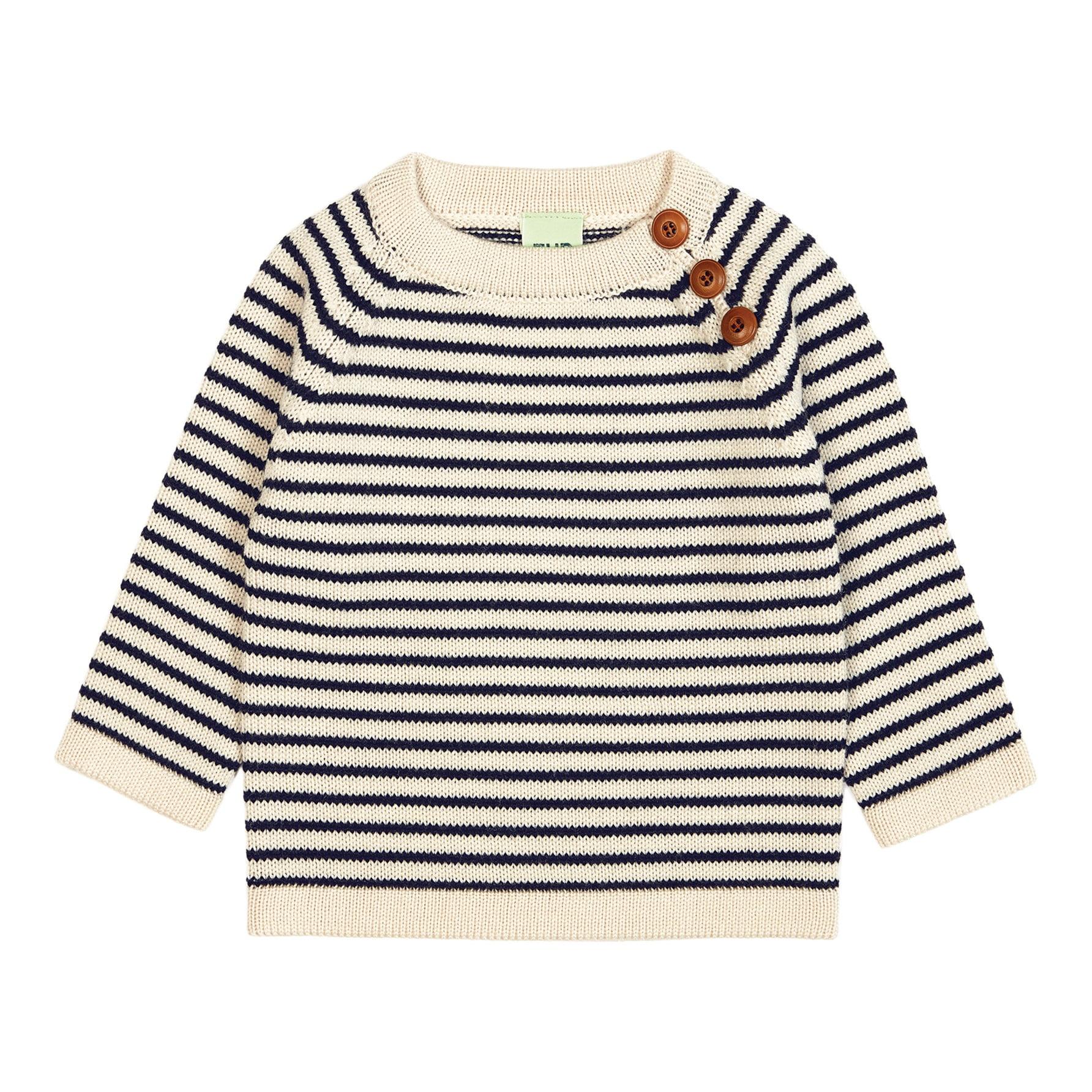cb308c369 FUB – Merino Wool Baby Sweater – Ecru Navy